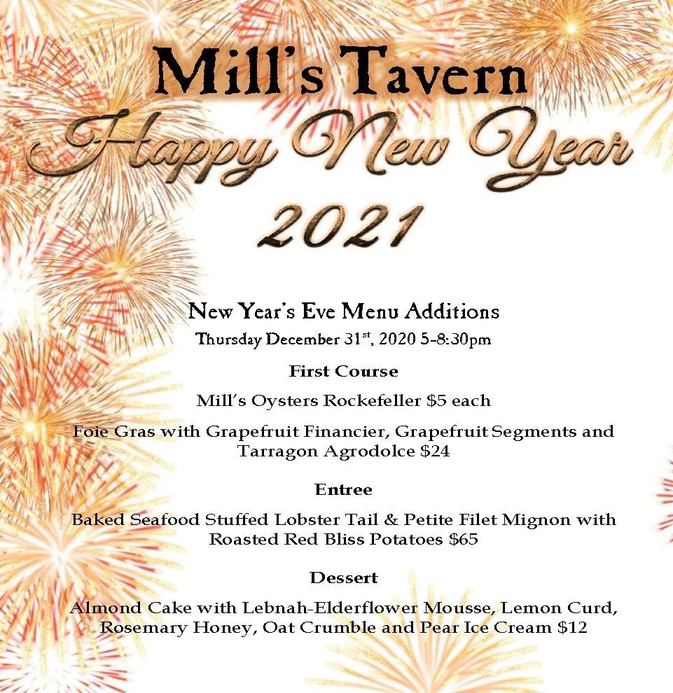 Mill's Tavern New Year's Eve 2020