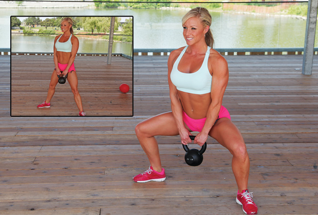 Sumo squat with kettlebell - Advanced squat variations - Women's Health & Fitness