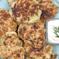 Chicken Fritters with Garlic Aioli Dip