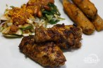 Ayam Taliwang (Spicy Grilled Chicken Served With Spicy Water Spinach Salad and Grilled Meat Skewers) - Indonesia
