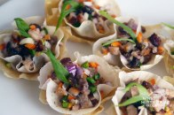 Sisig (Chargrilled Pig's Head) In Wanton Cups - Philippines