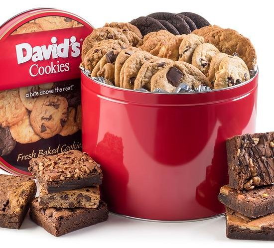 Gift Tin of Gourmet Chocolate Chip Cookies and Brownies from David's Cookies