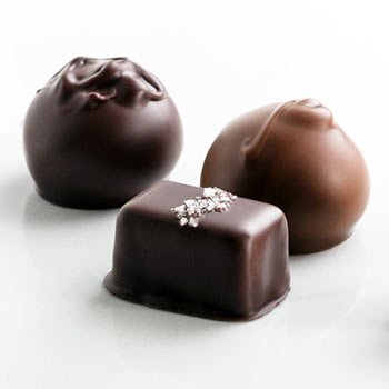 A Gift Box of Gourmet Dark and Milk Truffles and Salted Caramels