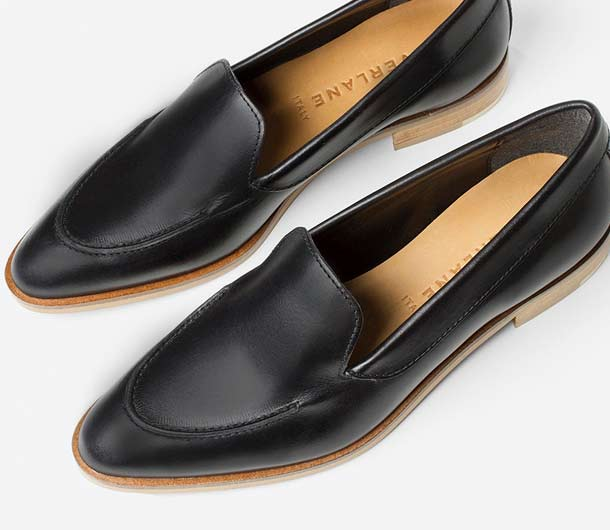 """Black Woman's Loafer by Everlane is the perfect gift for the """"on the go"""" mom"""