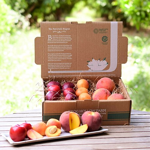 Organic Peaches, Plums and Nectarines in a Gift Basket from Frog Hollow Farms