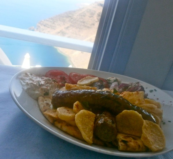 An amazing lamb dish on high in Santorini