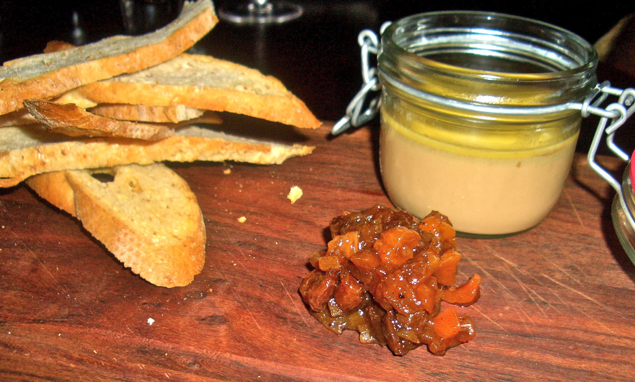 chicken liver parfait with pear and apricot chutney aqua shard subdued lighting