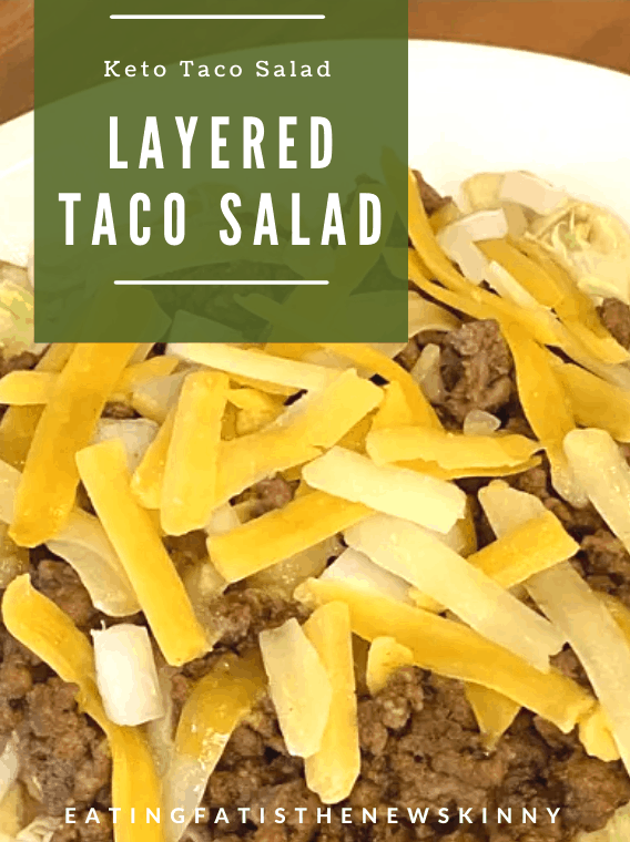 easy keto taco salad on a white plate pin