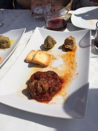Eggplant tapenade and partridge pate (typical of this region (Toledo))