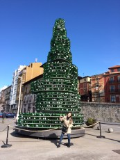 This tree in made out of sidra bottles stands year-round, but they decorate it with lights for Christmas!