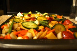 Lay vegetables out on cooking sheet