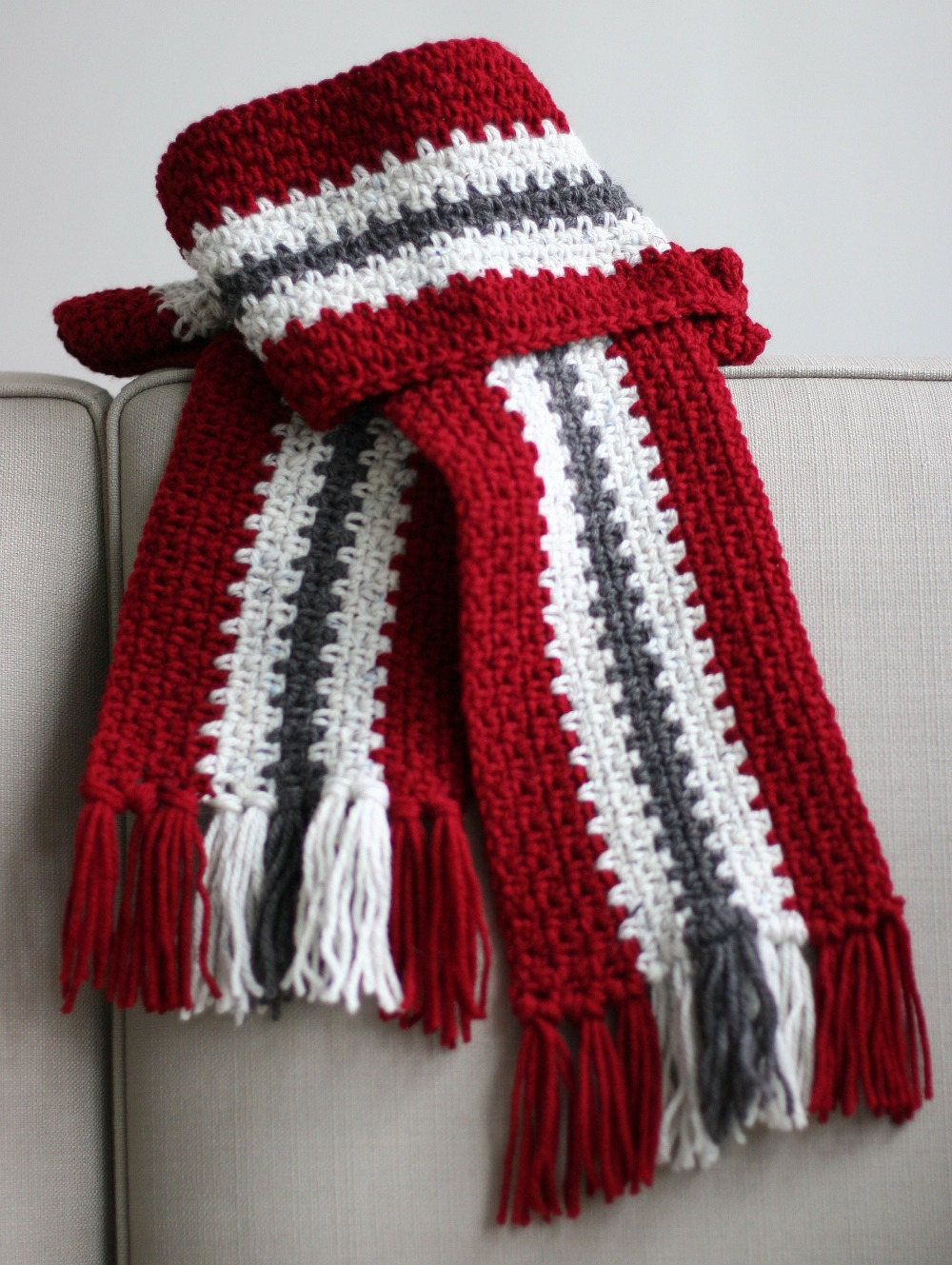 Vertical Stripe Crochet Scarf Unisex Eating Out Loud