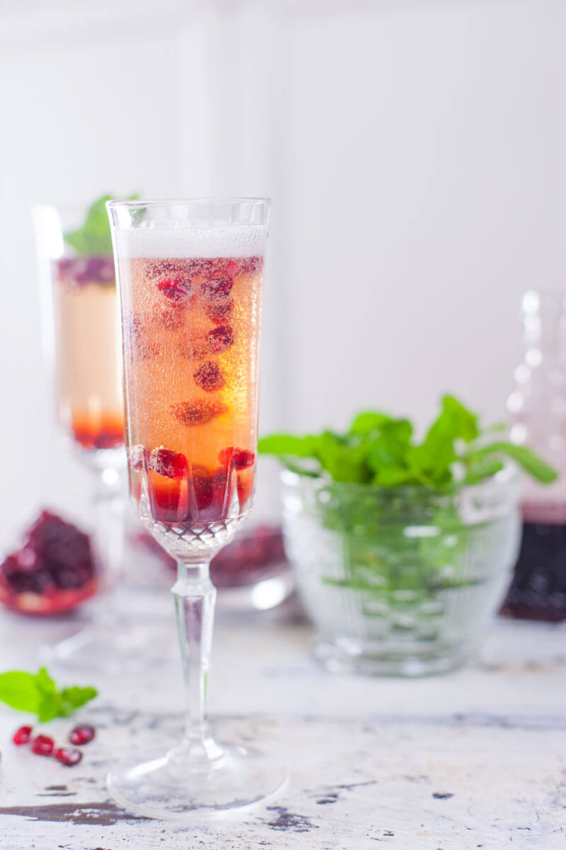 Mint Pomegranate Champagne Cocktail