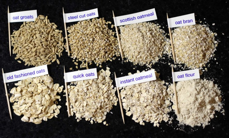 Closeup of the different textures of oats