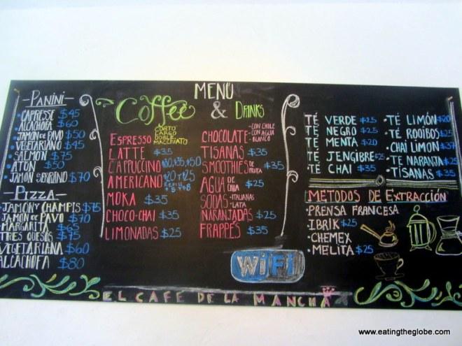 Menu at Cafe de la Mancha best coffee in San Miguel de Allende