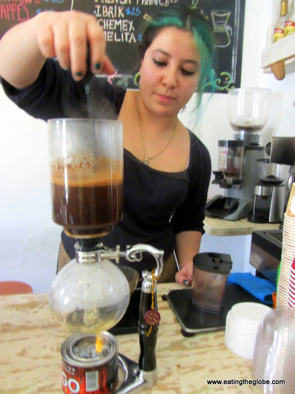 Siphon Coffee at Cafe de la Mancha the best coffee in San Miguel de Allende