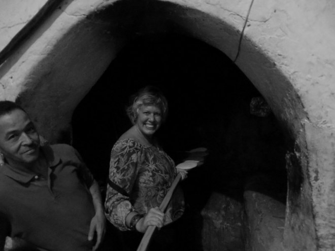 Valen tending the Marrakesh public bread oven