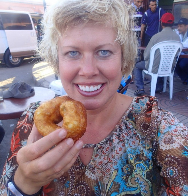 Eating Moroccan doughnuts