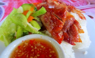 siem reap pork and rice, breakfast around the world