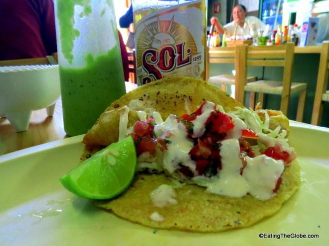 fish tacos in San Miguel Baja Taquito