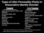 Common: Apparently Normal Parts (ANP) / Host,Child alter,Internal Self-helper (ISH),Introjects,Opposite-sex alters,Persecutor,Protector,Sexual Alter,Suicidal Alter or Internal Homicide,Teen alter. Less Common: Animal Alter,Baby and infant alter, Caretaker/Soother, Demon, Demonic and 'Evil' Alter, Fragment, Military or Political Alter, Nonhuman Alter, Robot or Machine Alter, Shell, Spirit, Ghost, or Supernatural being Alters. Sub-parts.No particular types of alter are needed for a DID diagnosis, most people will only recognize a few types. Some people with DID may not recognize any, or may have types not listed. Types of alters depend on what each person needed to survive.