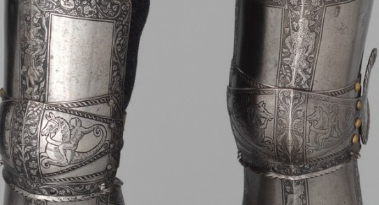 ARMOR OF EMPOROR FERDINAND POSEIDON SATAN DAGON WORSHIP KNEES DETAIL