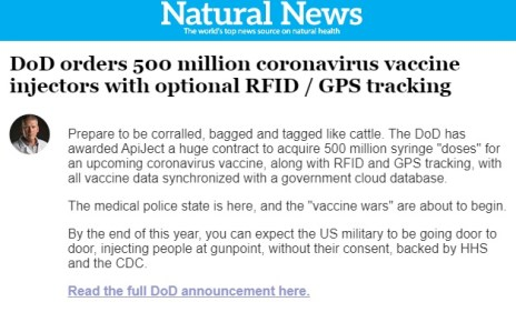 DoD Syringe Contract for RFID GPS - Natural News Email
