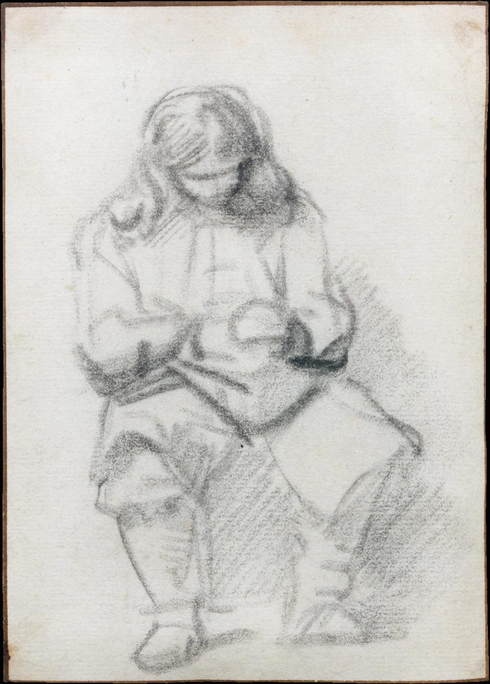 SEATED YOUNG MAN WITH LONG HAIR, HIS HANDS FOLDED, Rembrandt, 1648