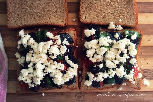 Grilled veg and feta on brown bread