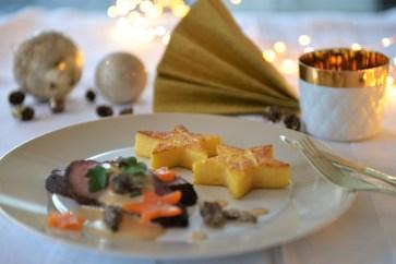 Rindsbraten an Morchelsauce mit Polenta-Sternen
