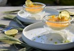 Schokolade-Limone Pannacotta mit Mangocoulis