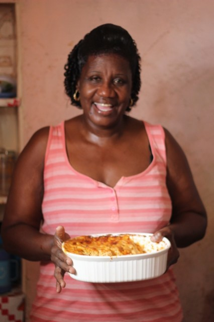 Heather, one of the chefs at The Club, who generously invited me into her home to teach me to cook Bajan food. Here with Mac Pie.