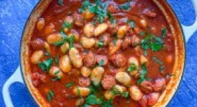 White Bean and Chorizo Stew (A Refreshing Light and Summery Stew)
