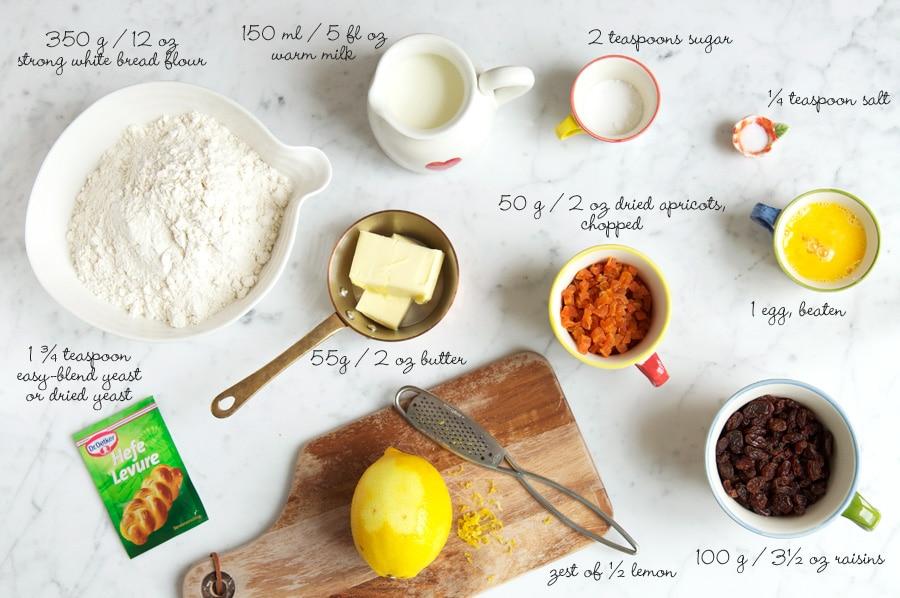 ingredients for fruit loaf