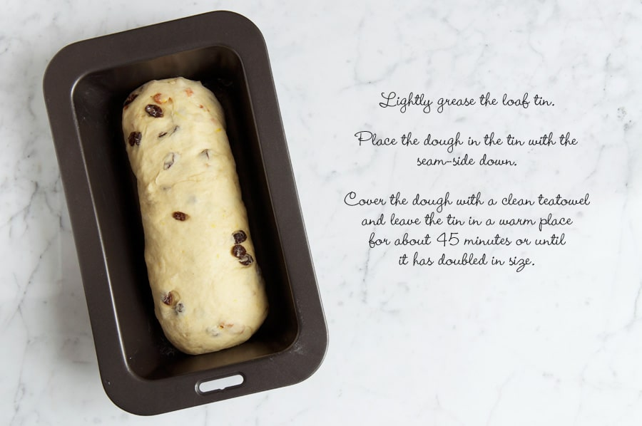 Step by step photos for making fruit loaf. Bread dough in baking tin before proving.
