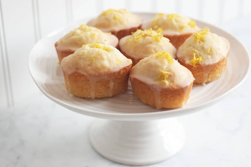 lemon drizzle friands on cake stand