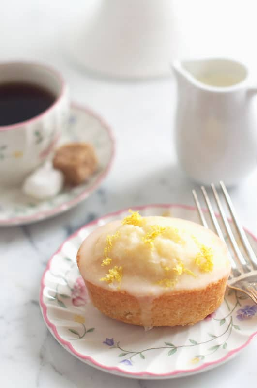 lemon drizzle friands on plate