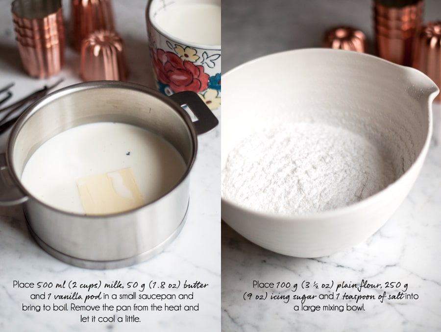 canneles recipe, warming the milk and measuring the dry ingredients