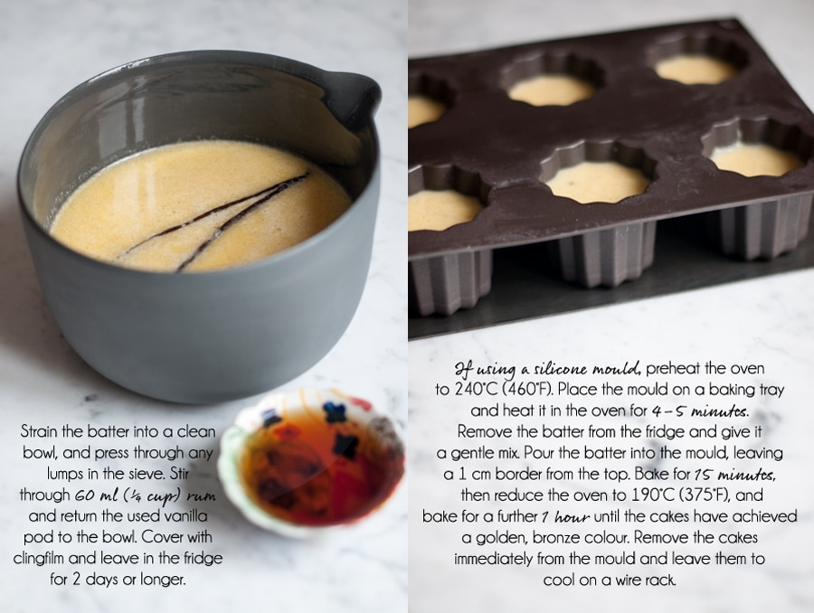 canneles recipe, preparing the batter, using a silicone cannelé mould