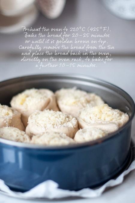 making cheese bread process shot
