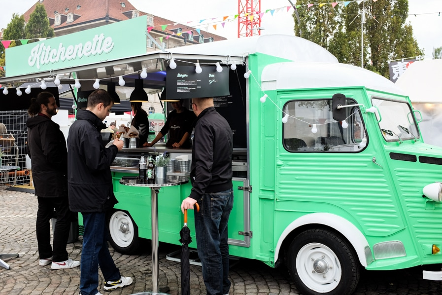 {Burgers were popular at this year's street food festival. I loved this retro green food truck!}