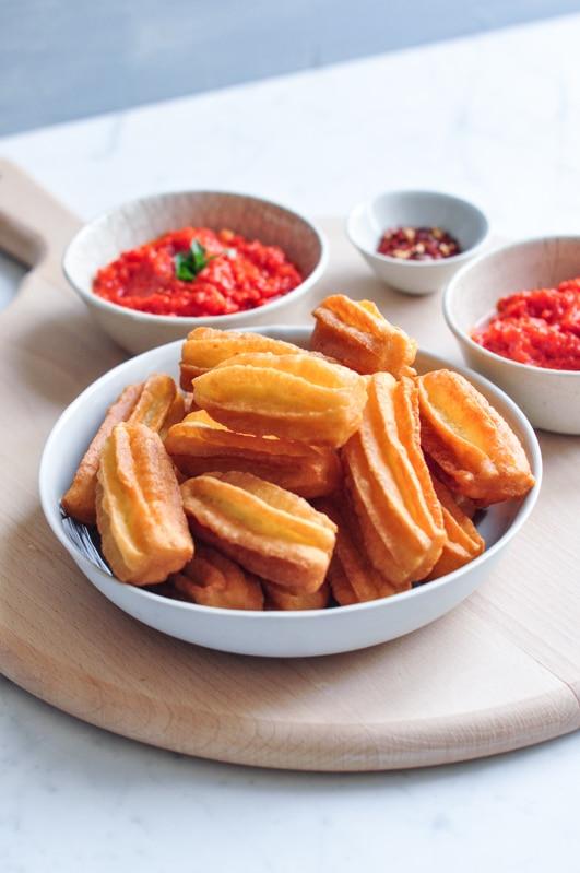potato churros in bowl