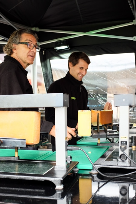 {Local Swiss food was also popular, including this raclette stand.}