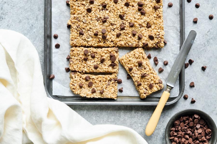 5 ingredient granola bars on metal tray