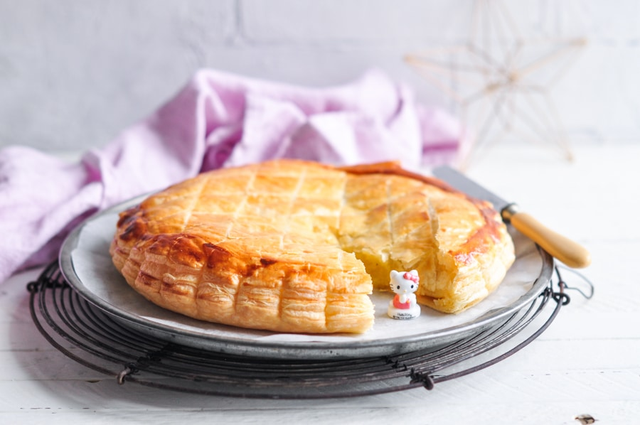 galette des rois with frangipane and hello kitty feve