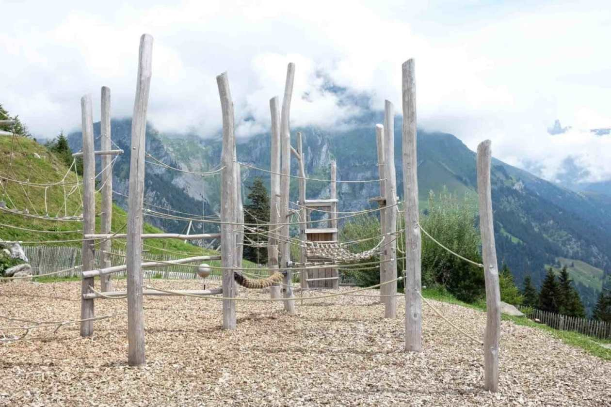 climbing playground with mountain views at brunni engelberg switzerland