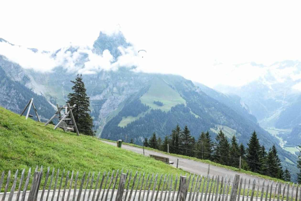 mountain views from the playground at brunni engelberg