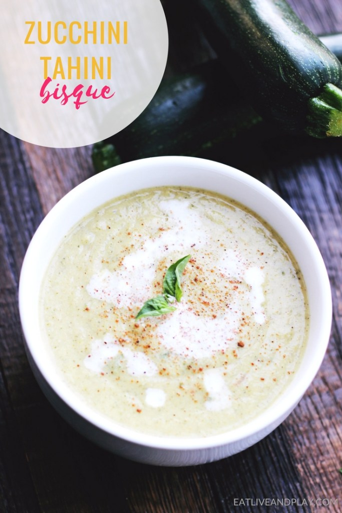This rich zucchini bisque is easy to make and owes it's velvety texture to a luscious mixture of coconut milk and tahini.