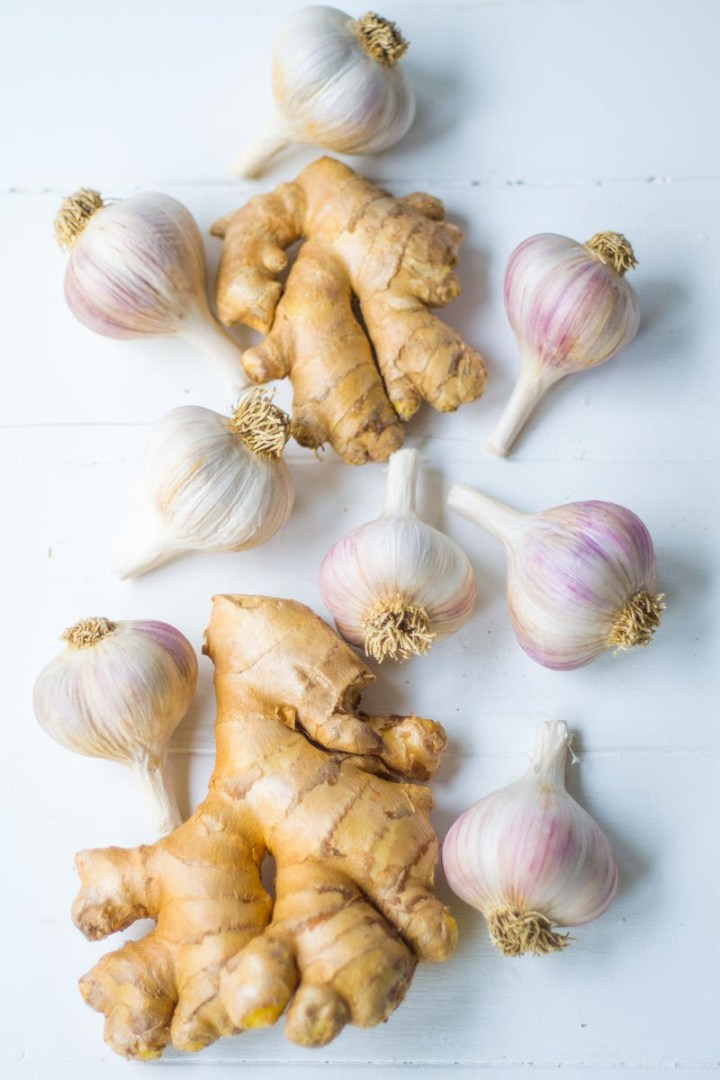 Ginger and Garlic on white background