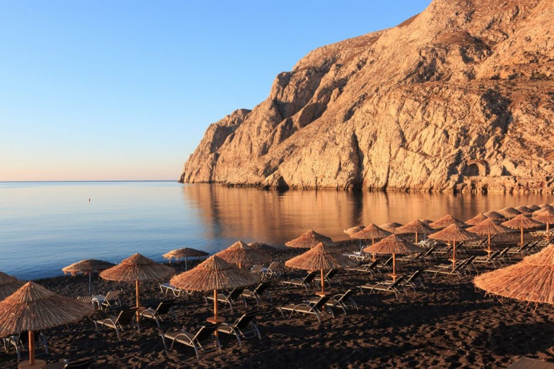 one of the best santorini beaches at sunrise